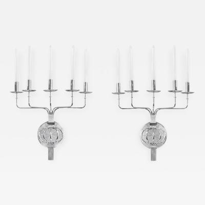 Tommi Parzinger Pair of Elegant 5 Arm Candle Sconces by Tommi Parzinger