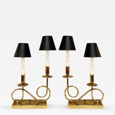 Tommi Parzinger Pair of Elegant Brass Lamps in the Manner of Tommi Parzinger 1950s