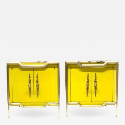 Tommi Parzinger Pair of Italian Brass Cabinets with Marble Tops