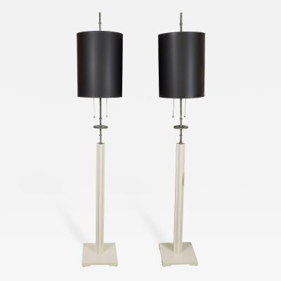 Tommi Parzinger Pair of Lacquered Wood and Patinated Brass Floor Lamps by Tommi Parzinger