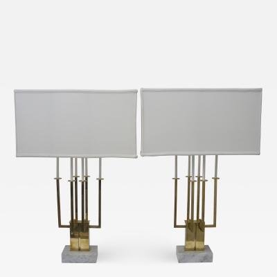 Tommi Parzinger Pair of Large Scale Stiffel Brass and Marble Table Lamps