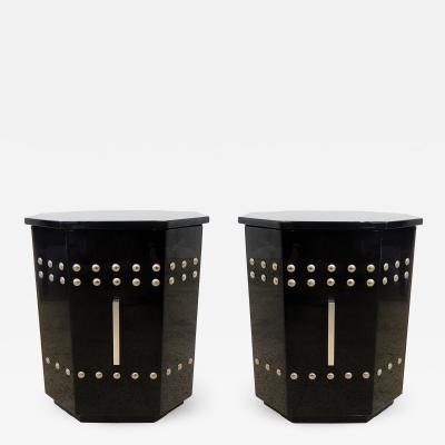 Tommi Parzinger Pair of Modern Black Lacquer Chrome Studded Pedestal Cabinets Tommi Parzinger