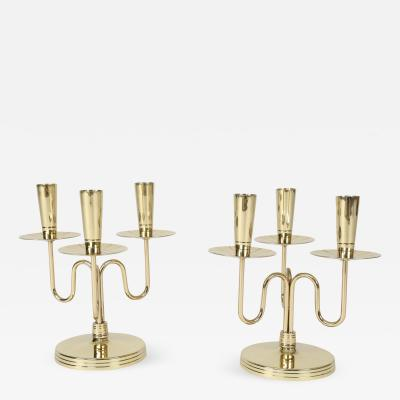 Tommi Parzinger Pair of Solid Brass Candelabra by Tommi Parzinger circa 1950s