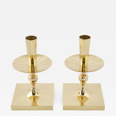 Tommi Parzinger Pair of Tommi Parzinger Brass Candle Holders with Square Bases circa 1950s