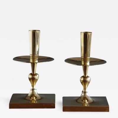 Tommi Parzinger Pair of Tommi Parzinger Brass Candleholders Made by Dorlyn Silversmiths