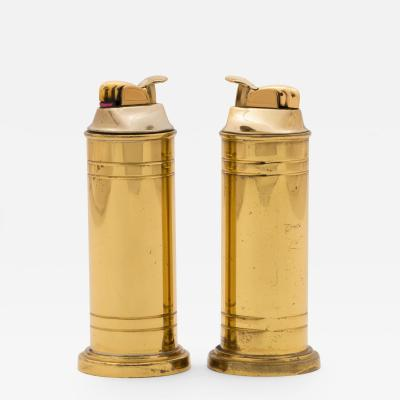Tommi Parzinger Pair of Tommi Parzinger Brass Table Lighters for Dorlyn Silversmiths