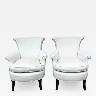 Tommi Parzinger Pair of Tommi Parzinger Petite Slipper Chairs Club Arm Chairs