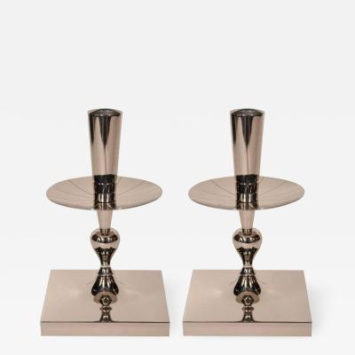 Tommi Parzinger Pair of Tommi Parzinger Polished Nickel Candlesticks