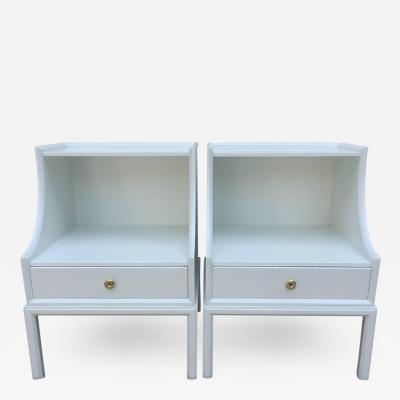 Tommi Parzinger Pair of Tommi Parzinger White Lacquered Elegant Two Tier End Tables Nightstands