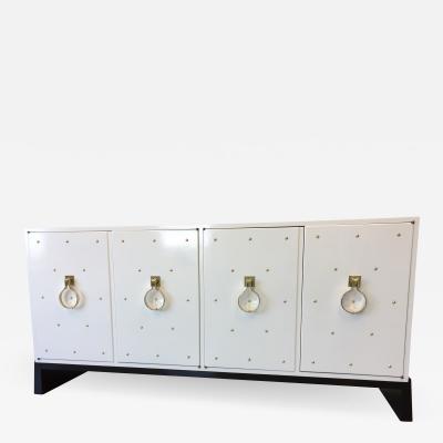 Tommi Parzinger Parzinger Original White Lacquered Studded Cabinet