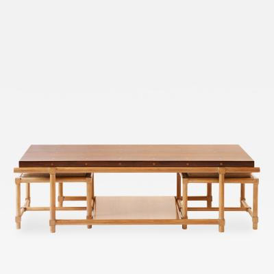 Tommi Parzinger Rare Tommi Parzinger Cocktail Table with Pull Out Stools and Side Tables