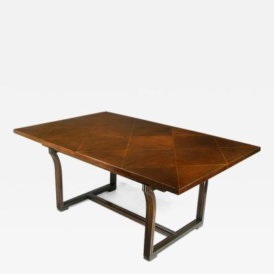 Tommi Parzinger Rare Tommi Parzinger Parquetry Top Mahogany Dining Table