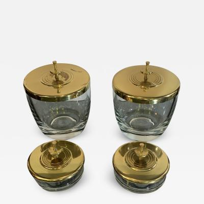 Tommi Parzinger SUITE OF FOUR STUNNING TOMMI PARZINGER BRASS AND GLASS CANNISTERS