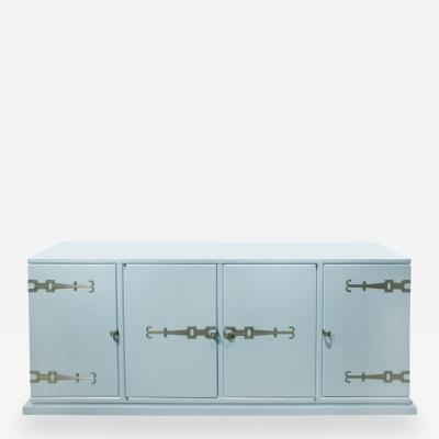 Tommi Parzinger Tommi Parzinger 4 Door Blue Cabinet with Iconic Hardware 1960s