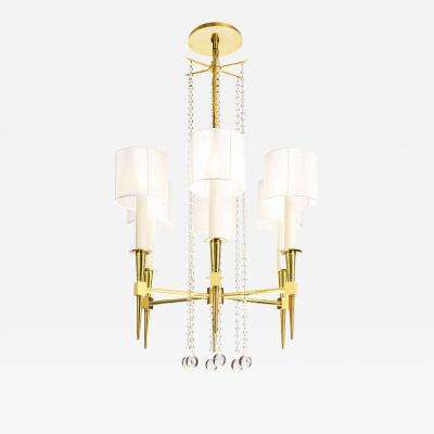 Tommi Parzinger Tommi Parzinger 6 Arm Chandelier in Brass and Crystal 1950s