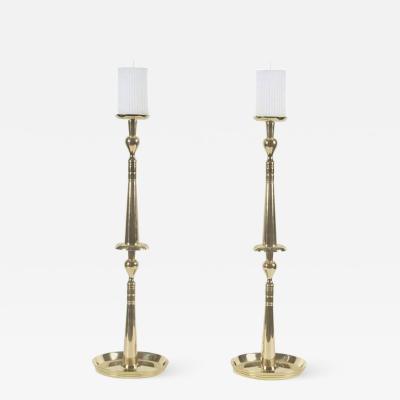 Tommi Parzinger Tommi Parzinger Brass Spindle Candlesticks
