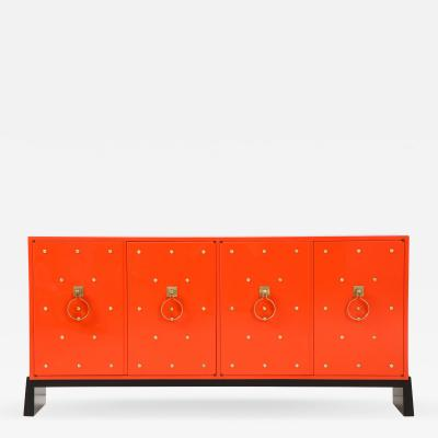 Tommi Parzinger Tommi Parzinger Coral Lacquer Studded Credenza