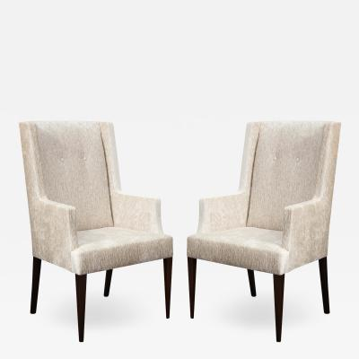 Tommi Parzinger Tommi Parzinger Elegant Pair of Upholstered Arm Chairs 1950s