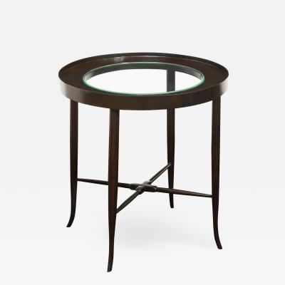 Tommi Parzinger Tommi Parzinger Elegant Side Table With Inset Glass Top 1950s