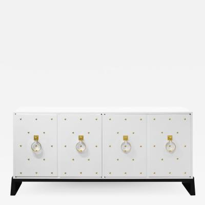 Tommi Parzinger Tommi Parzinger Lacquered Cabinet with Brass Studs 1950s Signed