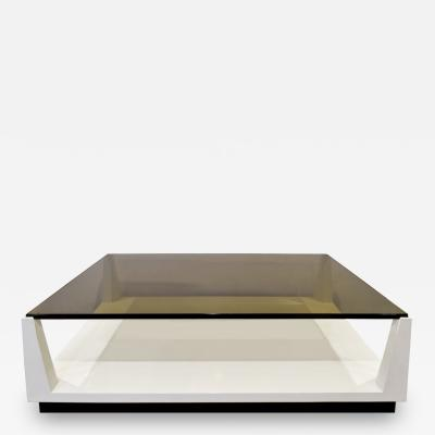 Tommi Parzinger Tommi Parzinger Lacquered Coffee Table with Smoke Glass Top 1970s