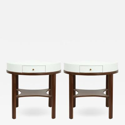 Tommi Parzinger Tommi Parzinger Lacquered Linen Walnut Side Tables