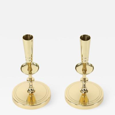 Tommi Parzinger Tommi Parzinger Pair of Candelabra in Polished Brass 1950s Signed