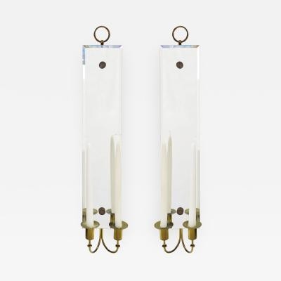 Tommi Parzinger Tommi Parzinger Pair of Mirrored Sconces With Brass Candle Holders 1950s