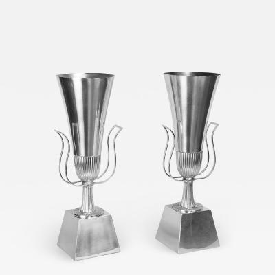Tommi Parzinger Tommi Parzinger Pair of Urn Shaped Silver Plated Table Lamps 1940s