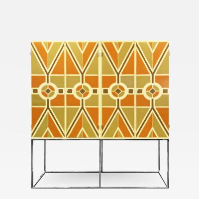 Tommi Parzinger Tommi Parzinger Rare 4 Door Lacquered Cabinet with Chrome Base 1960s Signed