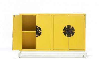 Tommi Parzinger Tommi Parzinger Style Hollywood Regency Yellow White Cabinet or Console