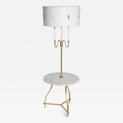 Tommi Parzinger Tommi Parzinger Style Marble Brass Tiered Candlestick Side Table Floor Lamp