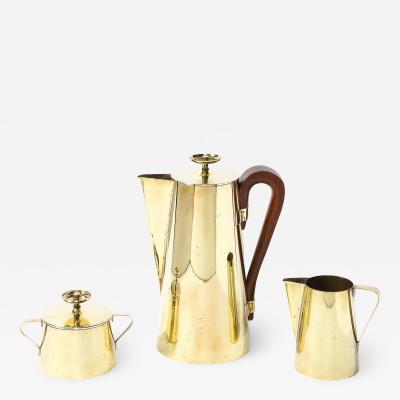 Tommi Parzinger Tommi Parzinger for Dorlyn Silversmiths Tea Service in Polished Brass Walnut