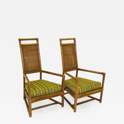 Tommi Parzinger Willow and Reed 1950s Rattan High Back Chairs by Tommi Parzinger