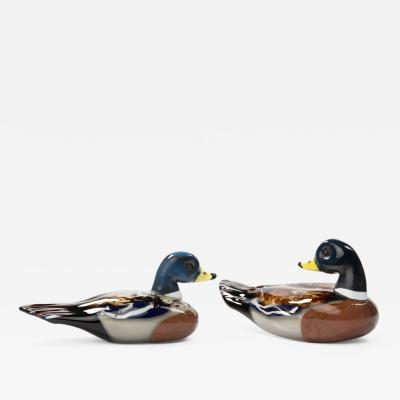 Toni Zuccheri A couple of ducks in Murano mouth blown glass vase