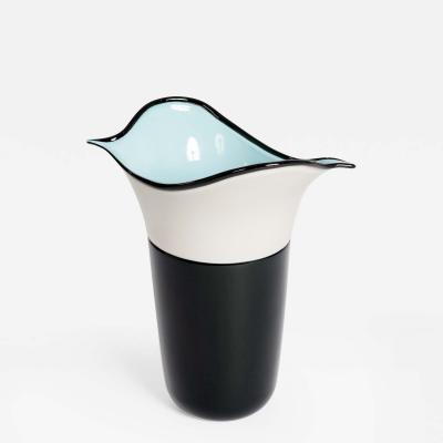 Toni Zuccheri Barovier Toso Murano Art Glass Vase Morbido Black White Toni Zuccheri 1984