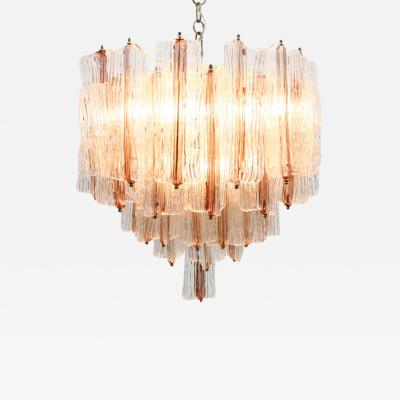 Toni Zuccheri Large Pink and White Venini Murano Chandelier by Toni Zuccheri 1960s