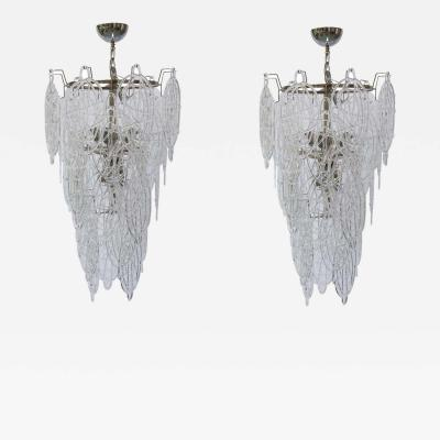 Toni Zuccheri PAIR OF ITALIAN MURANO DESIGN BLOWN LACE CLEAR GLASS CHANDELIERS