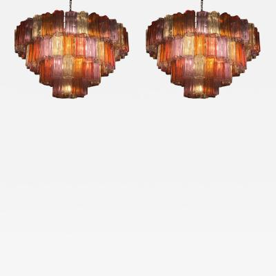 Toni Zuccheri Pair of Midcentury Multicoloured Murano Glass Chandelier by Zuccheri for Venini