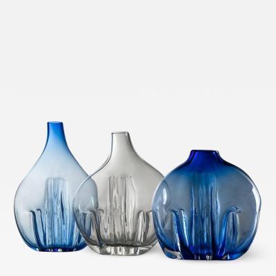 Toni Zuccheri Set of Three Murano Glass Vases by Toni Zuccheri