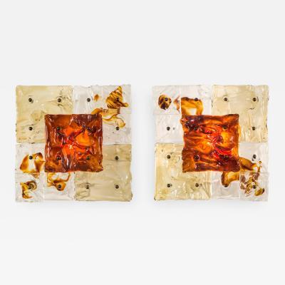 Toni Zuccheri Toni Zuccheri for Venini A Pair of Patchwork Sconces Ceiling Lights
