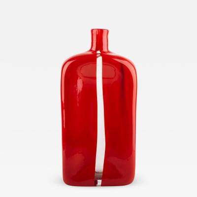 Toni Zuccheri Vintage Venini Murano Red Bottle Mouth Blown Glass Vase by Toni Zuccheri