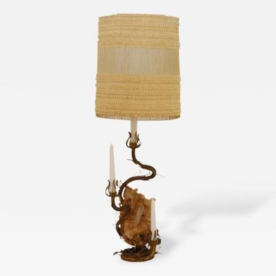 Tony Duquette Bronze and Rock Crystal Table Lamp Designed by Tony Duquette