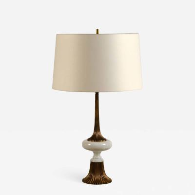 Tony Duquette Elegant Gilt Bronze and Opaline Tassel Lamp in the Style of Tony Duquette