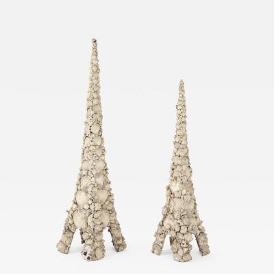 Tony Duquette Monumental pair of Decorative Shell Pagodas