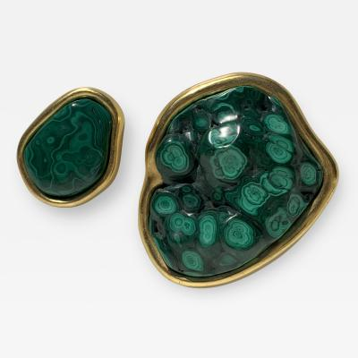 Tony Duquette Pair Malachite and Gold Paper Weights