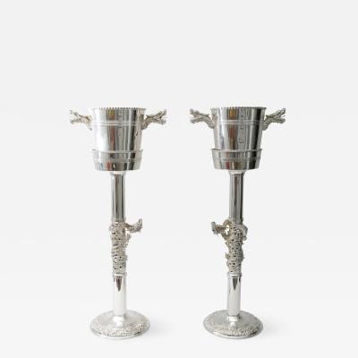 Tony Duquette Pair of Tony Duquette Style Silver Plated Art Deco Champagne Buckets with Stands