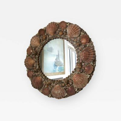 Tony Duquette Round Seashell Encrusted Wall Mirror