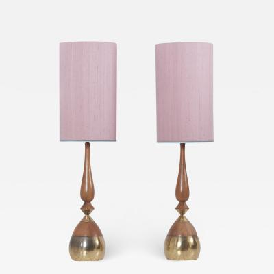 Tony Paul Pair of Table Lamps by Tony Paul in Brass and Walnut for Westwood Lighting