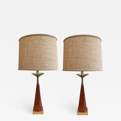 Tony Paul Pair of Tony Paul Brass and Walnut Lamps
